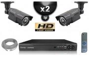 Kit Vidéo Surveillance PRO IP : 2x Caméras Tubes IR 60M CMOS 720P Compatible IPHONE + Enregistreur NVR H264 HD 1000 Go