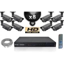 Kit Vidéo Surveillance PRO IP : 8x Caméras Tubes POE IR 60M SONY 960P + Enregistreur NVR 8 CANAUX H264 FULL HD 2000 Go
