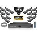 Kit Vidéo Surveillance PRO IP : 16x Caméras Tubes IR 60M CMOS 1080P Compatible IPHONE + Enregistreur NVR H264 FULL HD 3000 Go