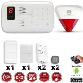 Système d'alarme sans fil GSM immunité animaux + sirène flash avec batterie CHUANGO O3 / G5 / S5