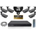 Kit Vidéo Surveillance PRO IP : 6x Caméras Tubes IR 60M CMOS 1080P Compatible IPHONE + Enregistreur NVR H264 FULL HD 3000 Go