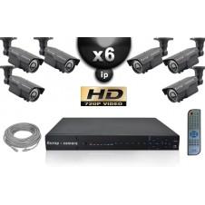 KIT VIDÉO SURVEILLANCE PRO IP : 6X CAMÉRAS POE TUBES IR 60M SONY HD 960P + ENREGISTREUR NVR 8 CANAUX H264 FULL HD 2000 GO