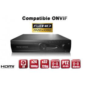 Enregistreur numérique NVR réseau 24 / 32 canaux H264 IP ONVIF 5MP 3MP 1080P FULL HD / Ref : EC-NVR24C8