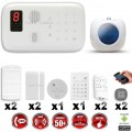 Système d'alarme sans fil GSM : VOL + INCENDIE + CLAVIER + SIRENE FLASH INTERIEUR