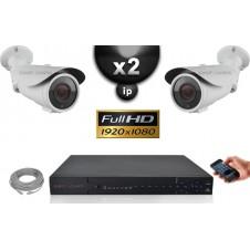 Kit Vidéo Surveillance PRO IP : 2x Caméras POE Tubes IR 40M SONY 1080P + Enregistreur NVR 8 canaux H264 FULL HD 2000 Go