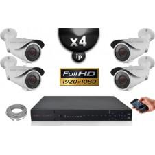 Kit Vidéo Surveillance PRO IP : 4x Caméras POE Tubes IR 40M SONY 1080P + Enregistreur NVR 24 canaux H264 FULL HD 3000 Go