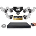 Kit Vidéo Surveillance PRO IP : 6x Caméras POE Tubes IR 40M SONY 1080P + Enregistreur NVR H264 FULL HD 3000 Go
