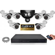 Kit Vidéo Surveillance PRO IP : 6x Caméras POE Tubes IR 40M SONY 1080P + Enregistreur NVR 24 canaux H264 FULL HD 3000 Go