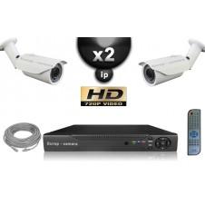 KIT VIDÉO SURVEILLANCE PRO IP : 2X CAMÉRAS POE TUBES IR 40M SONY HD 960P + ENREGISTREUR NVR 8 CANAUX H264 FULL HD 1000 GO