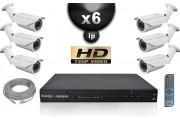 KIT VIDÉO SURVEILLANCE PRO IP : 6X CAMÉRAS POE TUBES IR 40M OMNIVISION 720P + ENREGISTREUR NVR H264 FULL HD 2000 GO