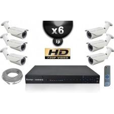 KIT VIDÉO SURVEILLANCE PRO IP : 6X CAMÉRAS POE TUBES IR 40M SONY HD 960P + ENREGISTREUR NVR 8 CANAUX H264 FULL HD 2000 GO