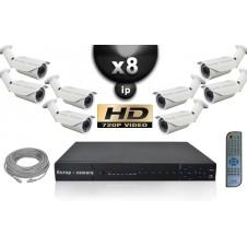 KIT VIDÉO SURVEILLANCE PRO IP : 8X CAMÉRAS POE TUBES IR 40M SONY HD 960P + ENREGISTREUR NVR 8 CANAUX H264 FULL HD 2000 GO