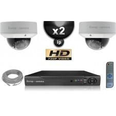 KIT VIDÉO SURVEILLANCE PRO IP : 2X CAMÉRAS POE DOMES IR 25M OMNIVISION 720P + ENREGISTREUR NVR 8 CANAUX H264 FULL HD 1000 GO