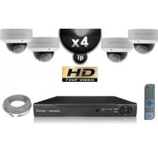 KIT VIDÉO SURVEILLANCE PRO IP : 4X CAMÉRAS POE DOMES IR 25M OMNIVISION 720P + ENREGISTREUR NVR 8 CANAUX H264 FULL HD 2000 GO