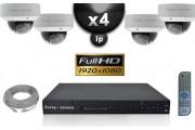 Kit Vidéo Surveillance PRO IP : 4x Caméras POE Dômes IR 25M 1080P Compatible IPHONE + Enregistreur NVR H264 FULL HD 3000 Go