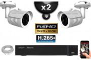 Kit Vidéo Surveillance PRO IP : 2x Caméras POE Tubes IR 30M Capteur SONY 1080P + Enregistreur NVR 9 canaux H265+ 1000 Go
