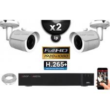 Kit Vidéo Surveillance PRO IP : 2x Caméras POE Tubes IR 20M Capteur SONY 1080P + Enregistreur NVR 8 canaux H264 FULL HD 2000 Go