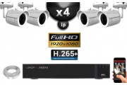 Kit Vidéo Surveillance PRO IP : 4x Caméras POE Tubes IR 20M SONY 1080P + Enregistreur NVR 24 canaux H264 FULL HD 3000 Go