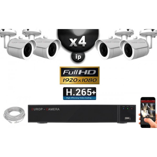 pack vid o surveillance ip full hd 4 cam ras tubes ir 40m. Black Bedroom Furniture Sets. Home Design Ideas