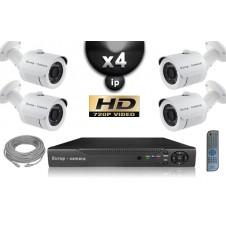 KIT VIDÉO SURVEILLANCE PRO IP : 4X CAMÉRAS POE TUBES IR 20M SONY HD 960P + ENREGISTREUR NVR 8 CANAUX H264 FULL HD 2000 GO
