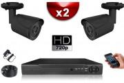 KIT ECO 2x Caméras CMOS + Enregistreur DVR 250 Go / Pack de vidéo surveillance