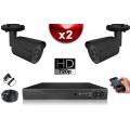 KIT ECO AHD  : 2 Caméras Tubes CMOS HD 720P + Enregistreur XVR H265+ 500 Go / Pack de vidéo surveillance