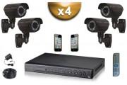 KIT PRO 4 Caméras Tubes SONY 1000 TVL + Enregistreur DVR 1000 Go FULL 960H - WD1 / Pack de vidéo surveillance PRO