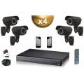 KIT PRO 4x Caméras Tubes 700 TVL + Enregistreur DVR 1000 Go FULL D1 / Pack de vidéo surveillance professionnel