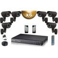 KIT PRO 6x Caméras Tubes 700 TVL + Enregistreur DVR 1000 Go FULL D1 / Pack de vidéo surveillance professionnel
