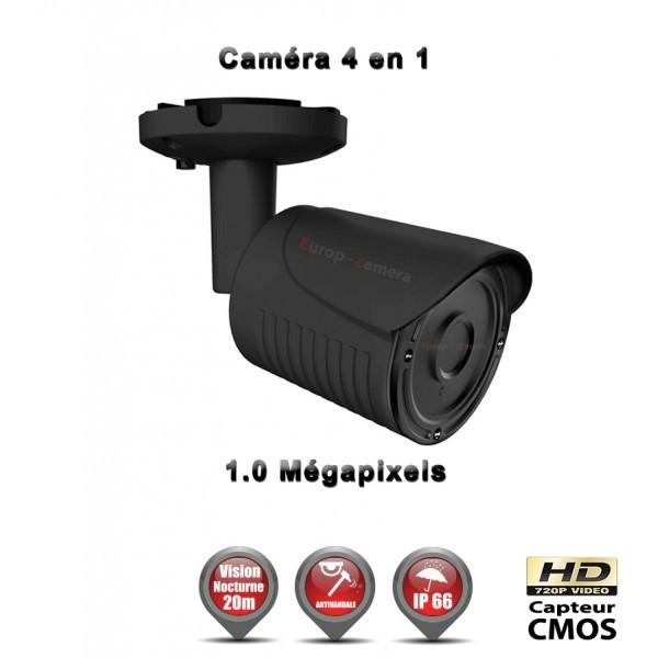 TUBE 4 EN 1 ANTI-VANDAL : HD 720P 1MP CMOS IR 20M / REF : EC-AHDC4I1 NOIR - CAMÉRA DE VIDÉO SURVEILLANCE