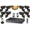 KIT PRO 8x Caméras Tubes 700 TVL + Enregistreur DVR 2000 Go FULL D1 / Pack de vidéo surveillance professionnel