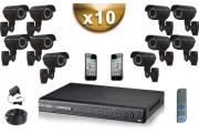 KIT PRO 10 Caméras Tubes 700 TVL + Enregistreur DVR 2000 Go FULL D1 / Pack de vidéo surveillance professionnel