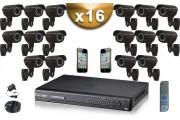 KIT PRO 16 Caméras Tubes 700 TVL + Enregistreur DVR 4000 Go FULL D1 / Pack de vidéo surveillance professionnel