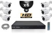 KIT VIDÉO SURVEILLANCE PRO IP : 6X CAMÉRAS POE TUBES IR 30M OMNIVISION 720P + ENREGISTREUR NVR H264 FULL HD 2000 GO