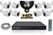 KIT VIDÉO SURVEILLANCE PRO IP : 8X CAMÉRAS POE TUBES IR 30M OMNIVISION 720P + ENREGISTREUR NVR H264 FULL HD 2000 GO