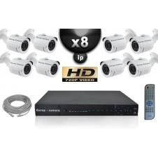 KIT VIDÉO SURVEILLANCE PRO IP : 8X CAMÉRAS POE TUBES IR 20M Capteur SONY 960P + ENREGISTREUR NVR 8 CANAUX H264 FULL HD 2000 GO