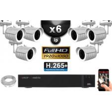 Kit Vidéo Surveillance PRO IP : 6x Caméras POE Tubes IR 20M Capteur SONY 1080P + Enregistreur NVR 32 canaux H264 FULL HD 3000 Go