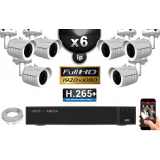 Kit Vidéo Surveillance PRO IP : 6x Caméras POE Tubes IR 30M Capteur SONY 1080P + Enregistreur NVR 9 canaux H265+ 2000 Go