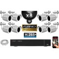 Kit Vidéo Surveillance PRO IP : 8x Caméras POE Tubes IR 30M SONY 1080P + Enregistreur NVR H264 FULL HD 3000 Go