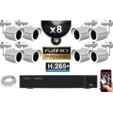 Kit Vidéo Surveillance PRO IP : 8x Caméras POE Tubes IR 20M Capteur SONY 1080P + Enregistreur NVR 32 canaux H264 FULL HD 3000 Go