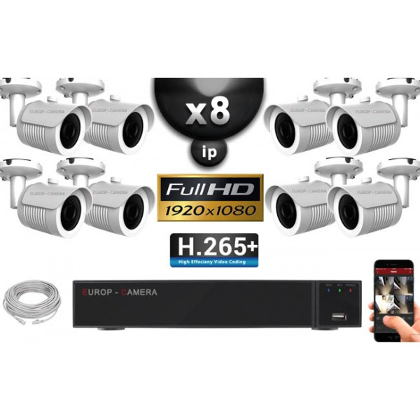 pack vid o surveillance ip full hd 8 cam ras tubes ir 30m cmos sensor 1080p enregistreur. Black Bedroom Furniture Sets. Home Design Ideas