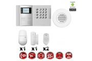 Système d'alarme PRO sans fil GSM + RTC 868 mhz immunité animaux 25 kg + Sirène flash intérieure MFprotect