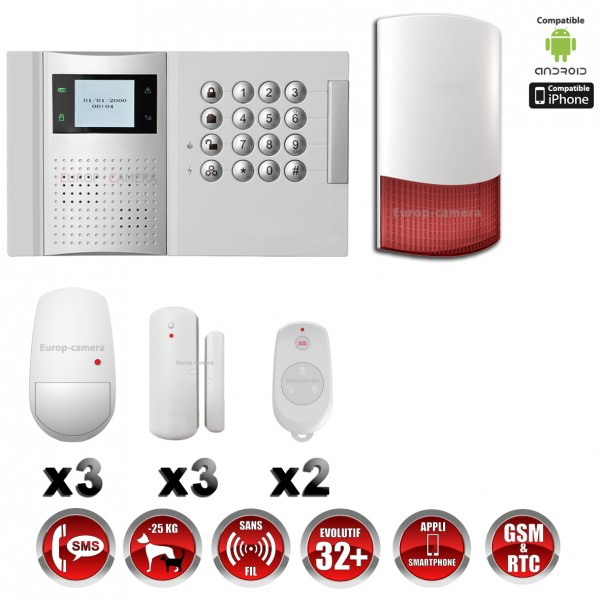 alarme professionnel 868 mhz gsm rtc compatible box immunite animaux. Black Bedroom Furniture Sets. Home Design Ideas