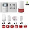 Système d'alarme PRO sans fil GSM + RTC 868 mhz immunité animaux 25 kg + Sirène Flash extérieure + détecteur de fumée MFprotect