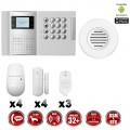 Système d'alarme PRO sans fil GSM + RTC 868 mhz immunité animaux 25 kg + Sirène Flash intérieur MFprotect