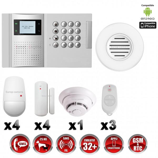 Système d'alarme PRO sans fil GSM + RTC 868 mhz immunité animaux 25 kg + Sirène Flash intérieur + détecteur de fumée MFprotect