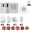 Système d'alarme PRO sans fil GSM + RTC 868 mhz immunité animaux 25 kg + Sirène flash intérieure + détecteur de fumée MFprotect