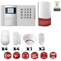 Système d'alarme PRO sans fil GSM + RTC 868 mhz immunité animaux 25 kg + Sirène Flash exterieur + détecteur de fumée MFprotect