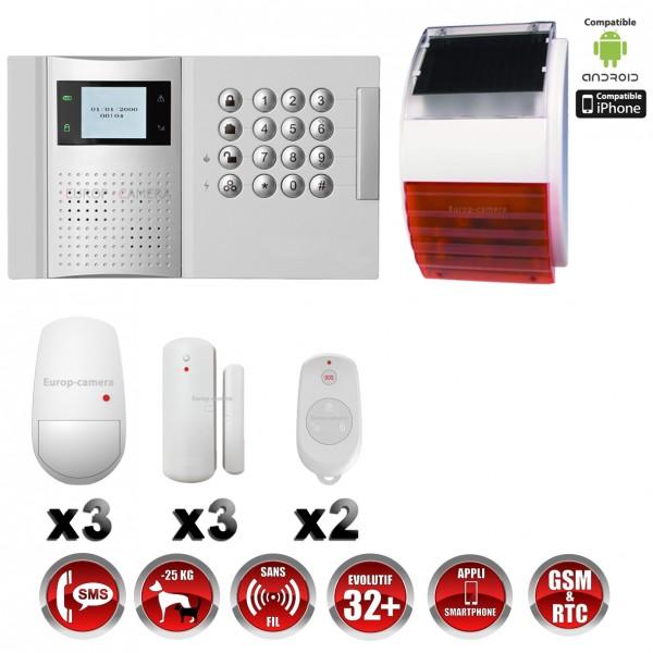 Alarme professionnel 868 mhz gsm rtc compatible box immunite animaux - Alarme sans fil gsm ...