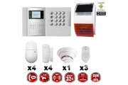 Système d'alarme PRO sans fil GSM + RTC 868 mhz immunité animaux 25 kg + Sirène Flash solaire + détecteur de fumée MFprotect